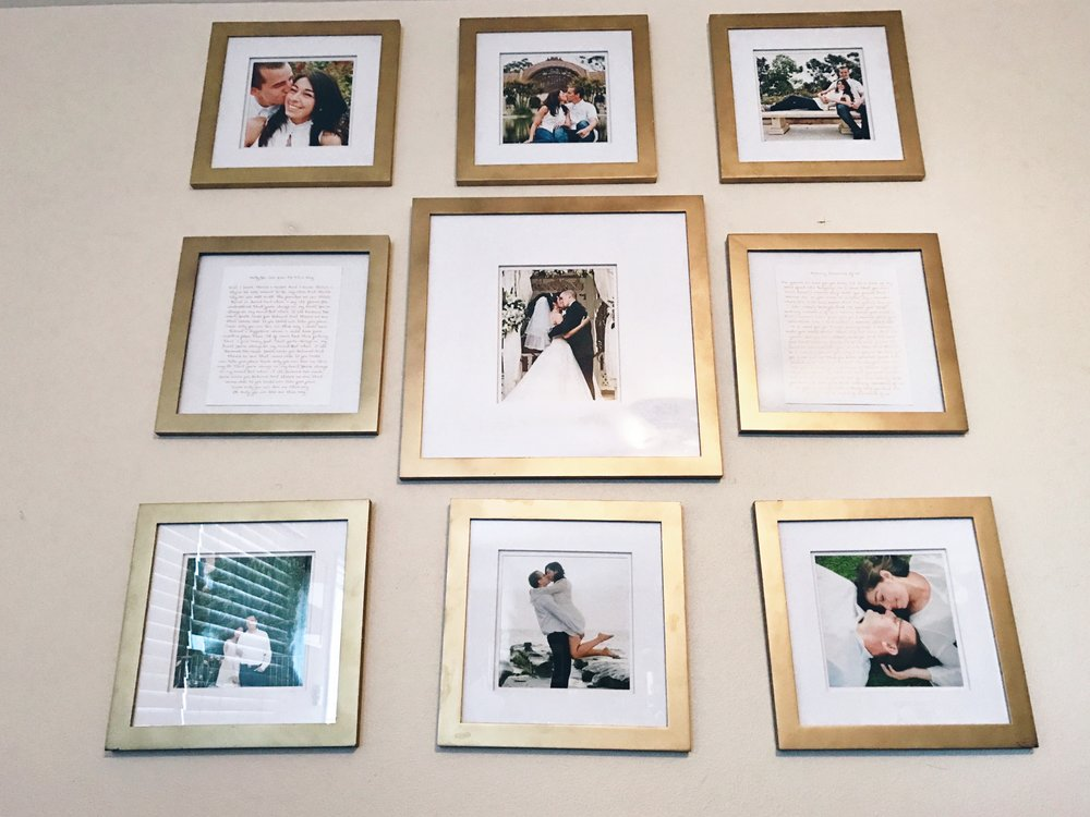 How cute is the gallery wall Yeleny created to display pictures from their engagement, wedding and 5 year anniversary!?