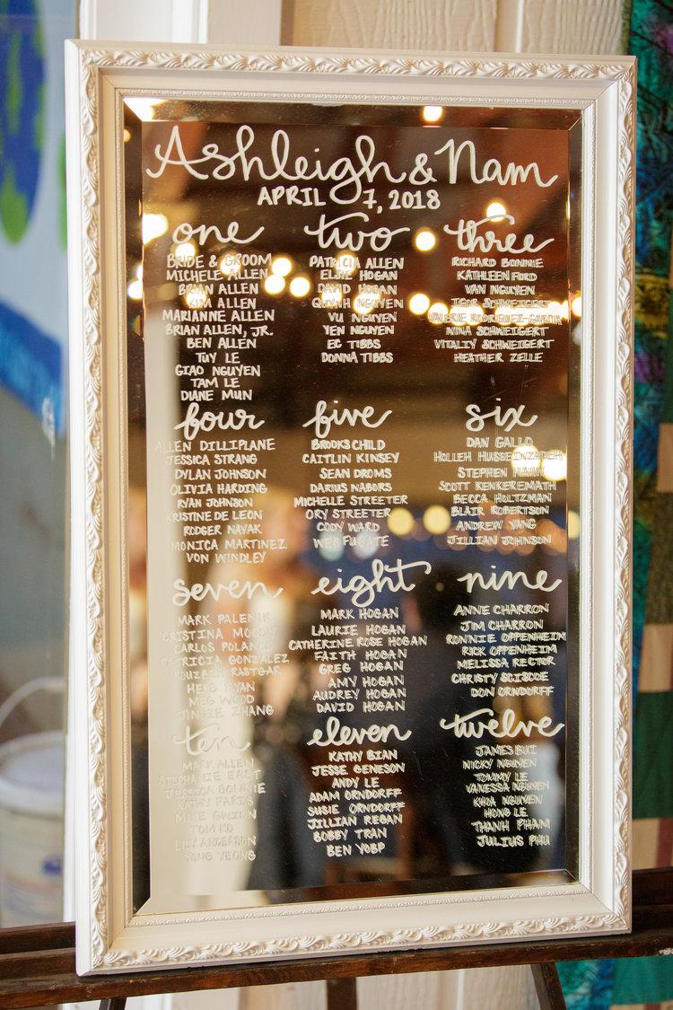 wedding decor calligraphy mirror