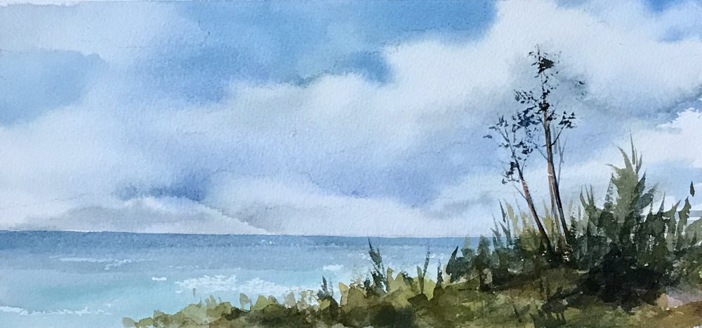 "View from Pompano- 5"" x 11"", watercolor plein aire"