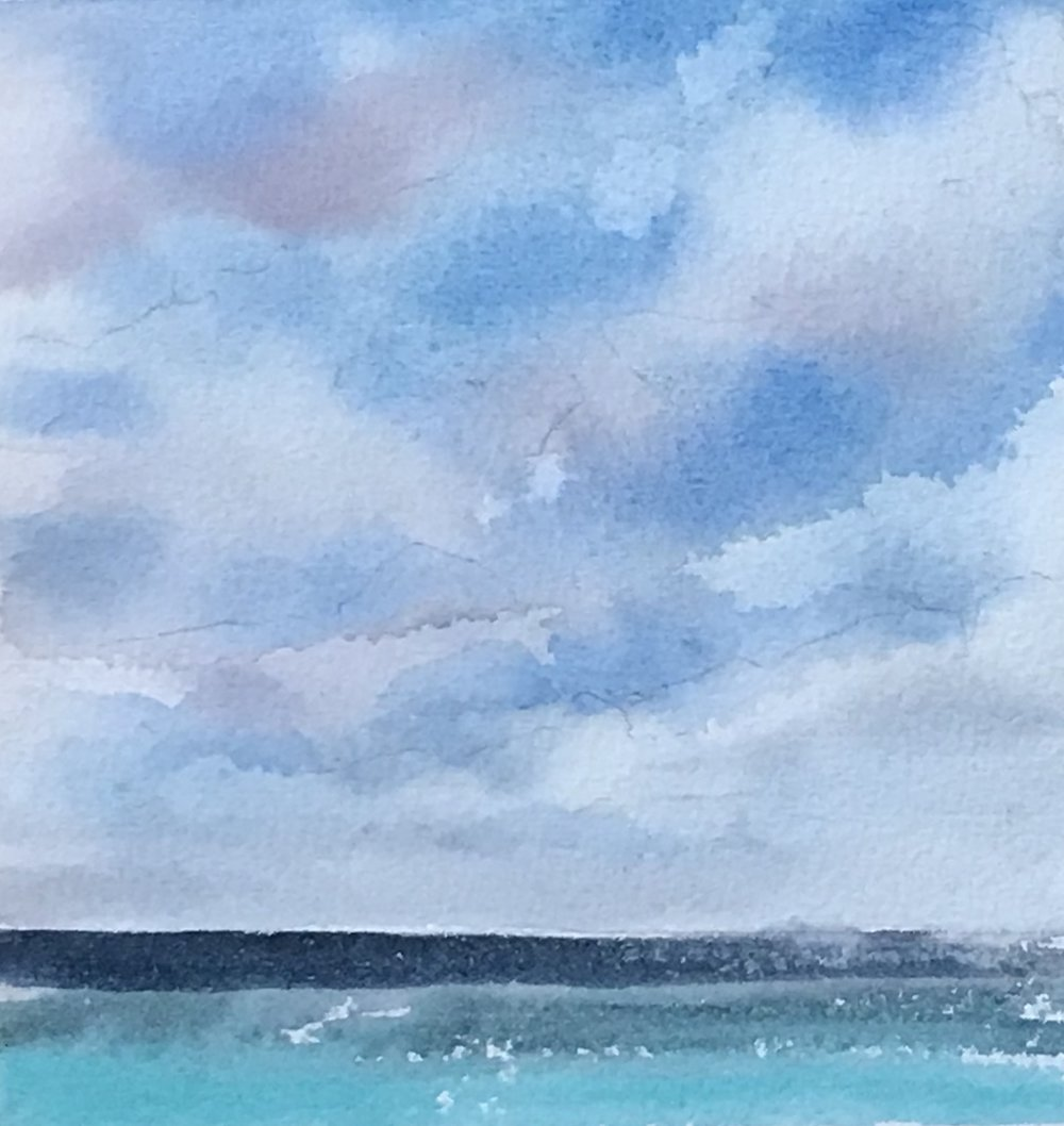 """Pompano Cloudscape #2- 5"""" x 5"""" , watercolor"""