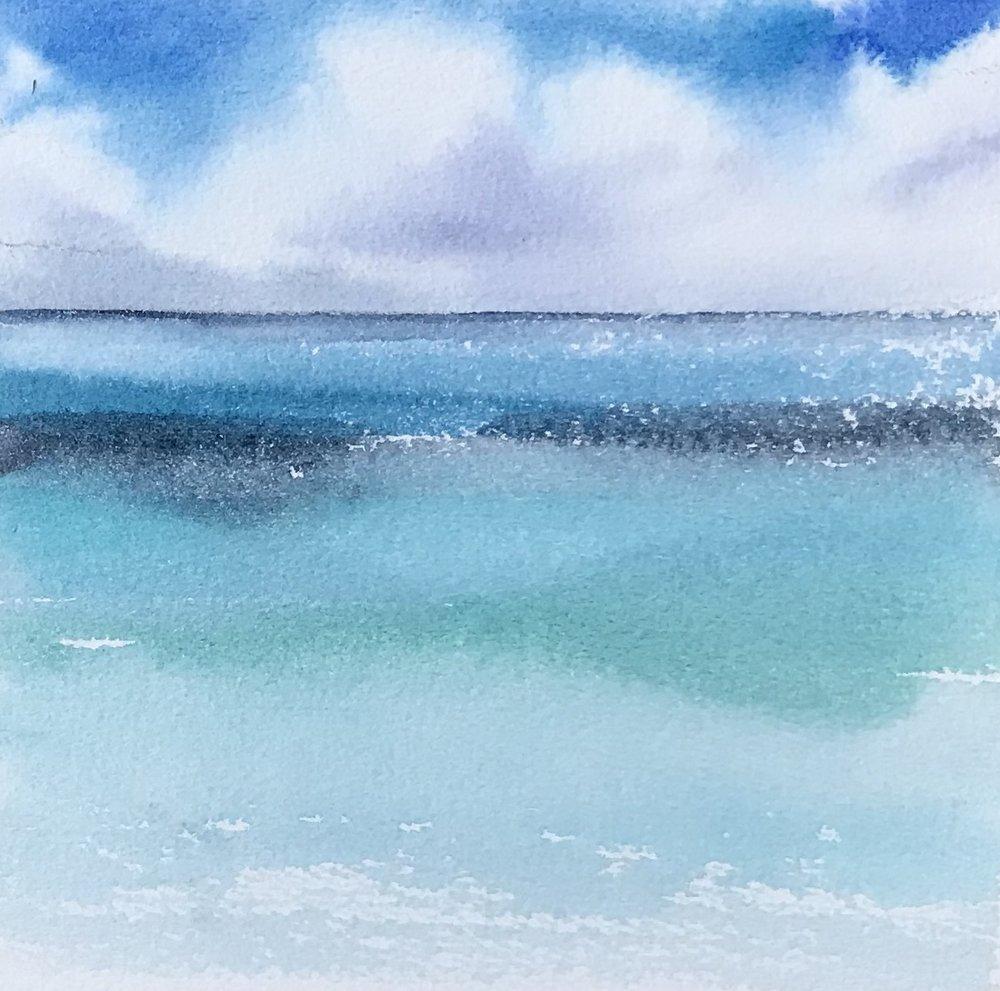 """Pompano Cloudscape #3- 5' x 5"""", watercolor"""