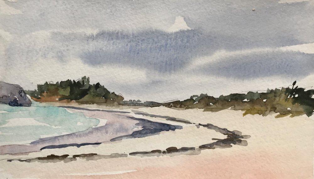 Horseshoe Bay Beach, watercolor