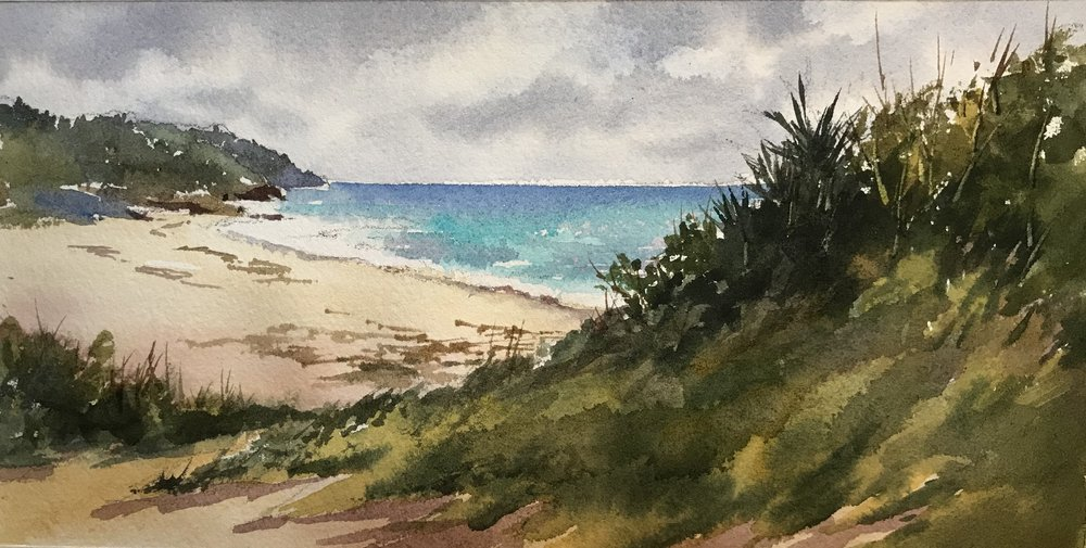 "Warwick Long Bay, 7 x 10"", watercolor"