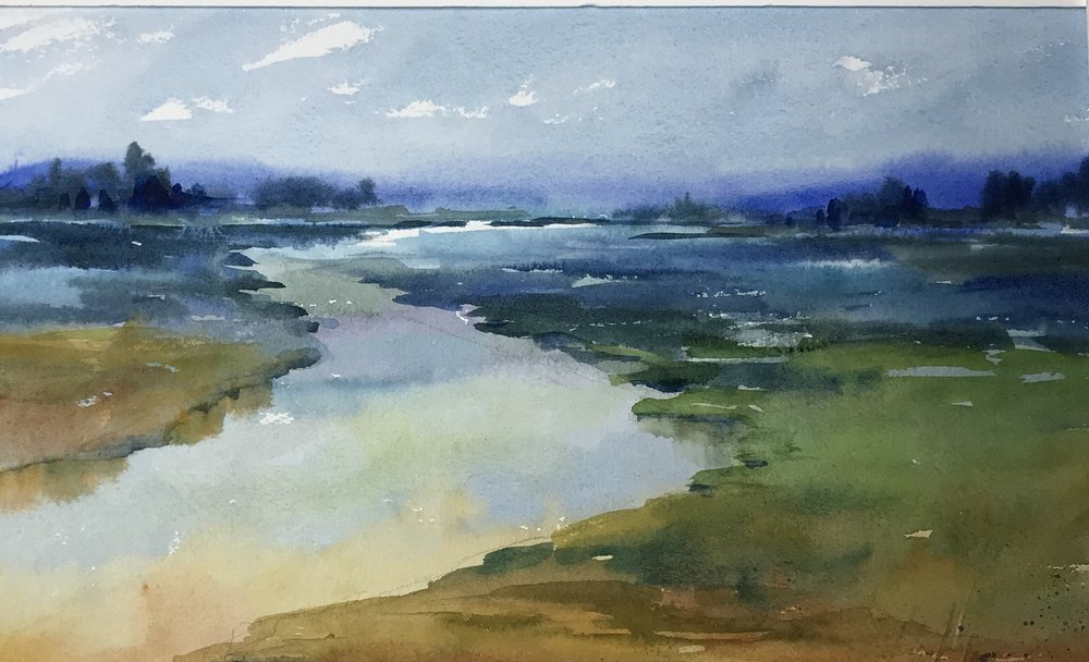 """Mystical Marsh"", Watercolor 13"" x 19"" framed $350"