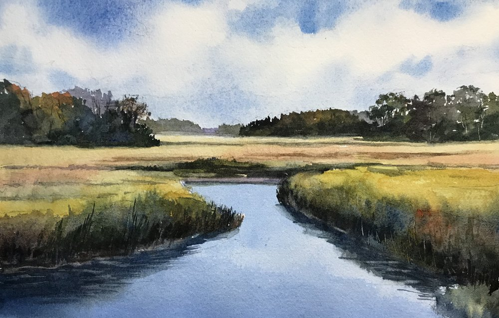 """Early Fall Marsh"", Watercolor, 11"" x 14"" matted $125"