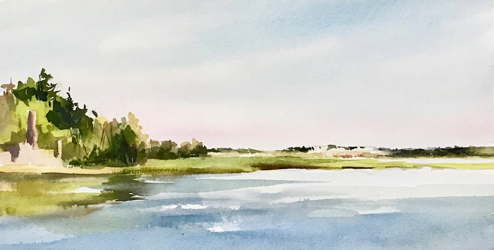 This was my first painting, looking out towards the dunes of Crane Beach