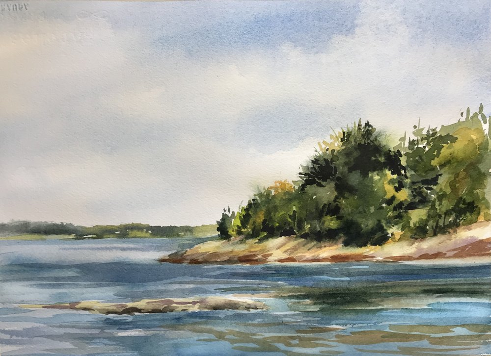 In my final painting of the morning, I looked out beyond Cross Island.