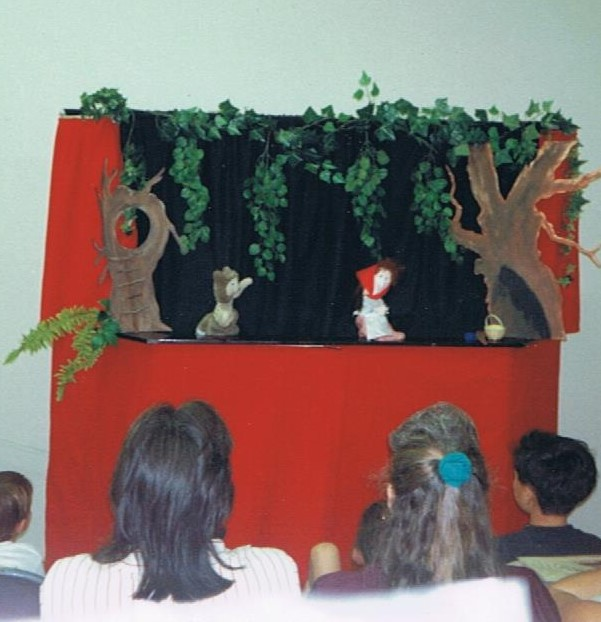 A puppet performance of Tajar Tales at a local children's library.