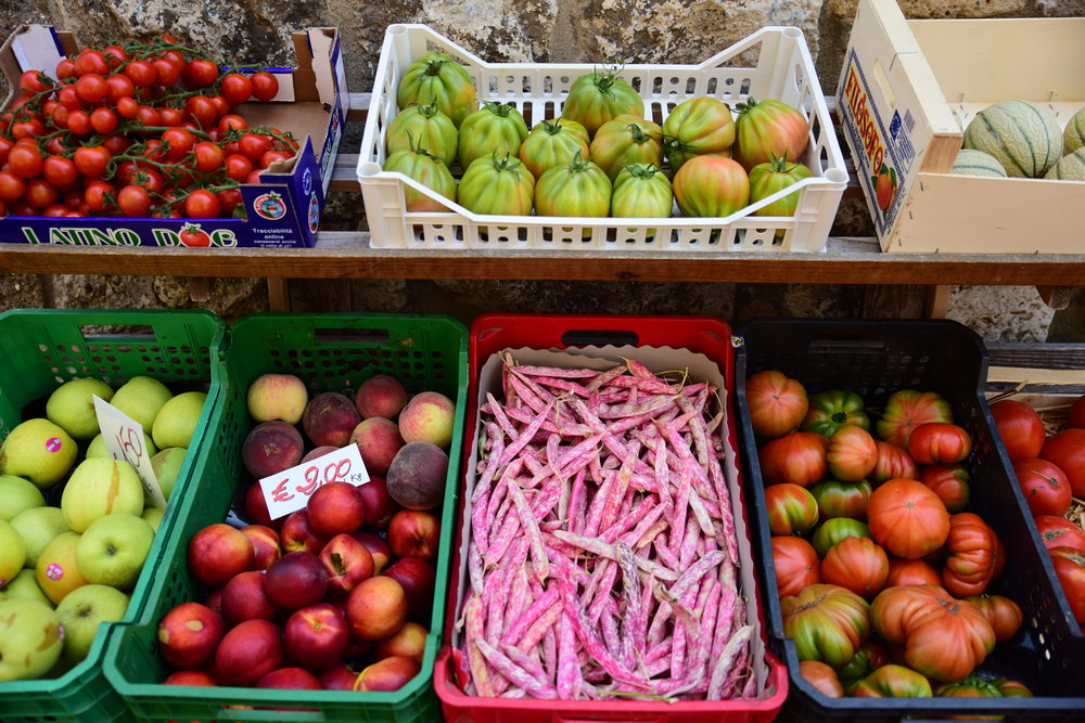 Summer's bounty and dinner supplies in Catellina