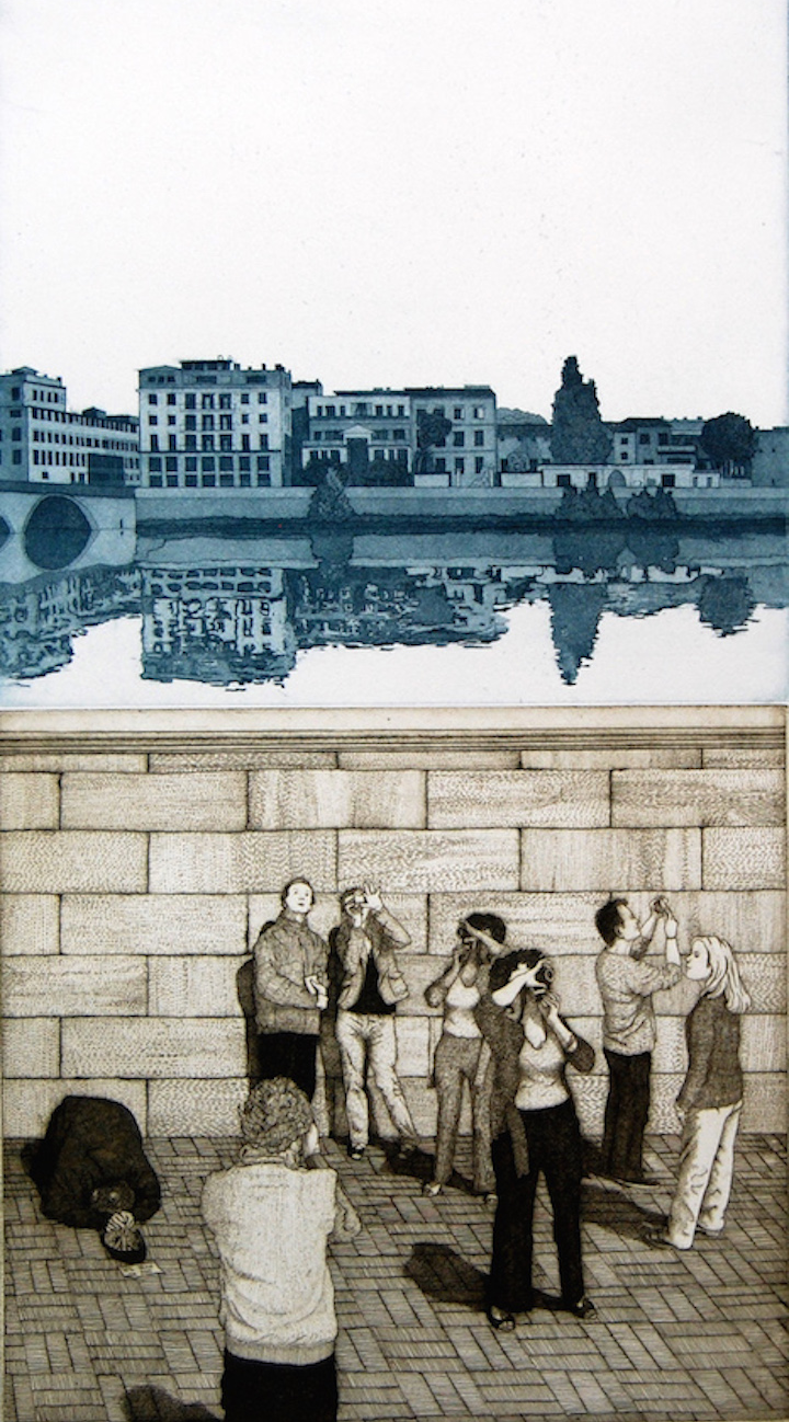 Near the Uffizi (Will Draw for Food) • etching/aquatint