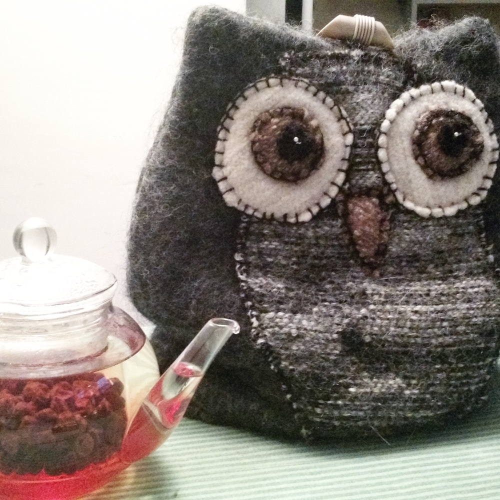 Owl protecting the tea