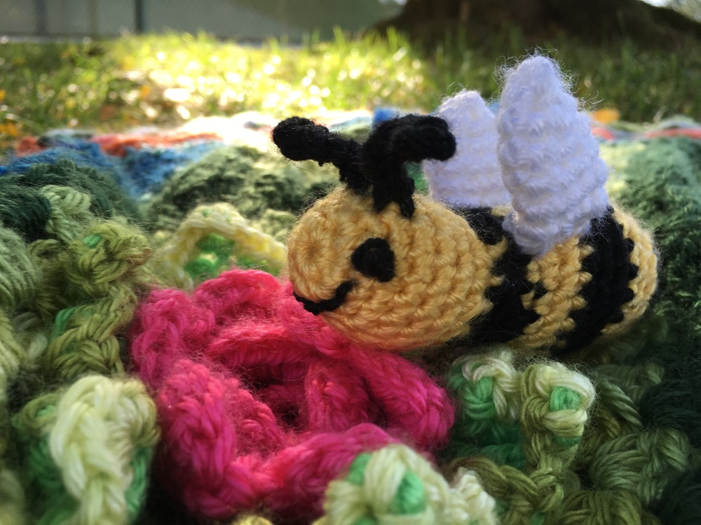 I almost stopped with the butterfly and dragonfly.  I wanted to get it in the mail, but I just couldn't do it.  It needed the bumblebee to feel finished.