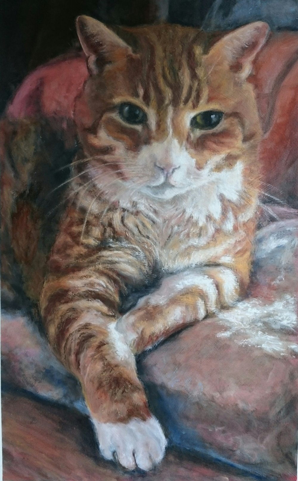 King Kahuna. Acrylics and oil pastel on paper. This was a combined communication and portrait commission. I was asked to chat with Kahuna as he approached the end of his earthly life. The guardian of this wonderful being has now written a book about her experience.   Kahuna, The Cat Who Didn't Die by Francesca Cassini