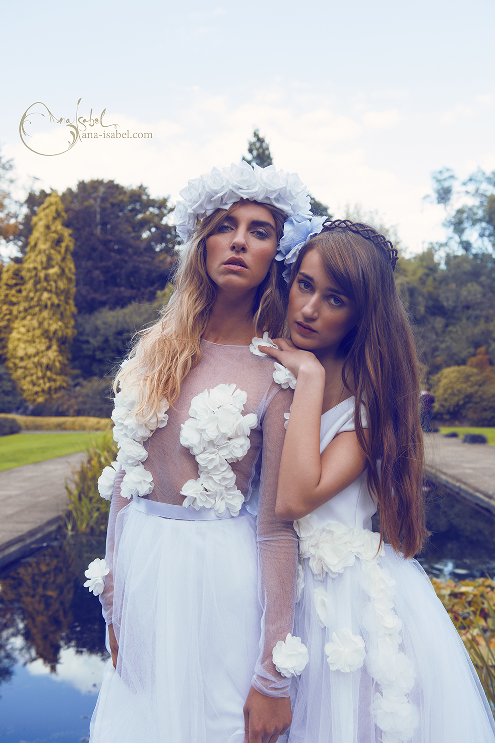 Model: Timea Orban & Alessandra Rocca  Photography: Ana Isabel  Dresses: Agnes Mira Rosa  Headdresses: Rouge Pony  Makeup: Sarah Shaw  Published: ELEGANT Magazine