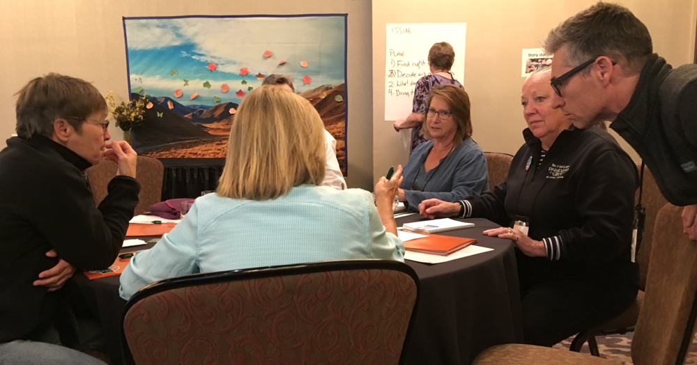 Participants discuss using civility as a tool to help tackle specific community challenges during a session led by  C4C  at the recent Community Builders Summit in Bend.
