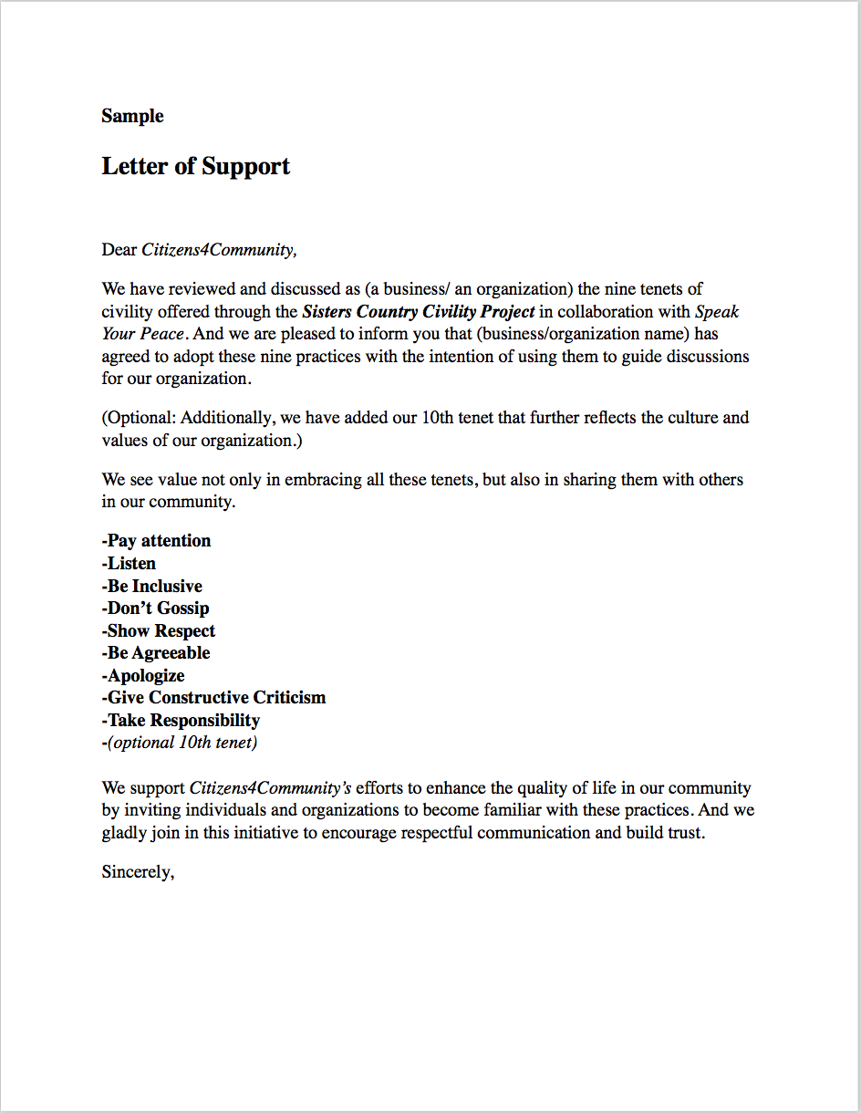 SAMPLE LETTER OF SUPPORT (Click On The Image Above To View Or Download The