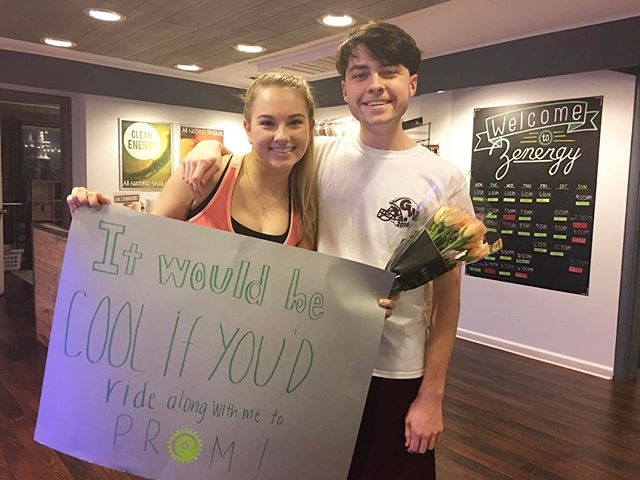 Can you say that you've ever been asked to prom on a bike? This might be one of the sweetest things we have seen at our studios! #zenergycycling #justride