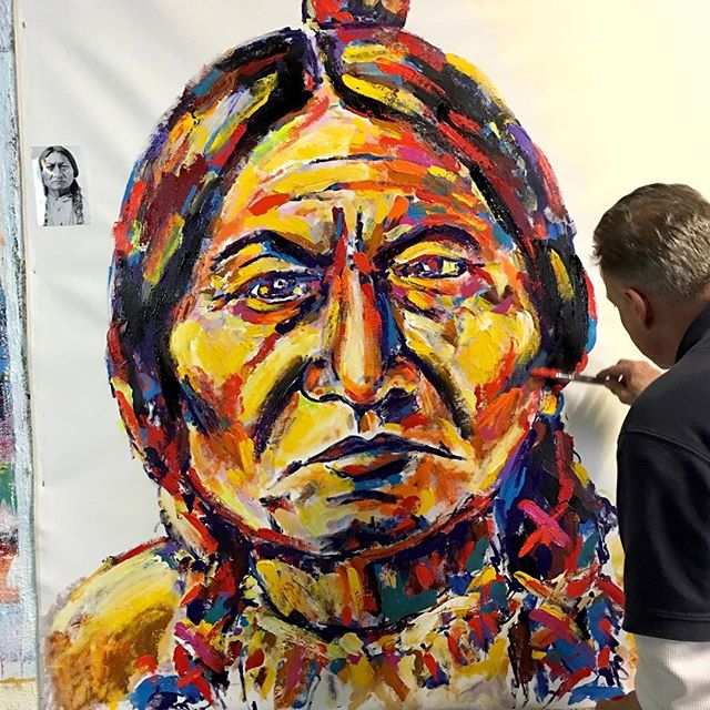 I'm standing up painting #SittingBull xx You know how much I love painting Indians, especially this one. I looked back and saw that a year ago I was painting another Sitting Bull piece xx  must be Fall weather xx There wasn't any color film in the 1800's so I have to make it up as I go along. This is the first layer/sketch xx I'm just happy to be standing #Stango #JohnStango #AmericanIndian #popart #contemporaryart #painting #LakotaSioux #artsy #artnet #musclecarart #tylerschoolofart #1stdibs