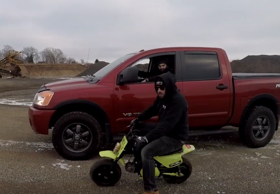Mini Bike vs. Nissan Titan Pro 4X! - Click to View Video