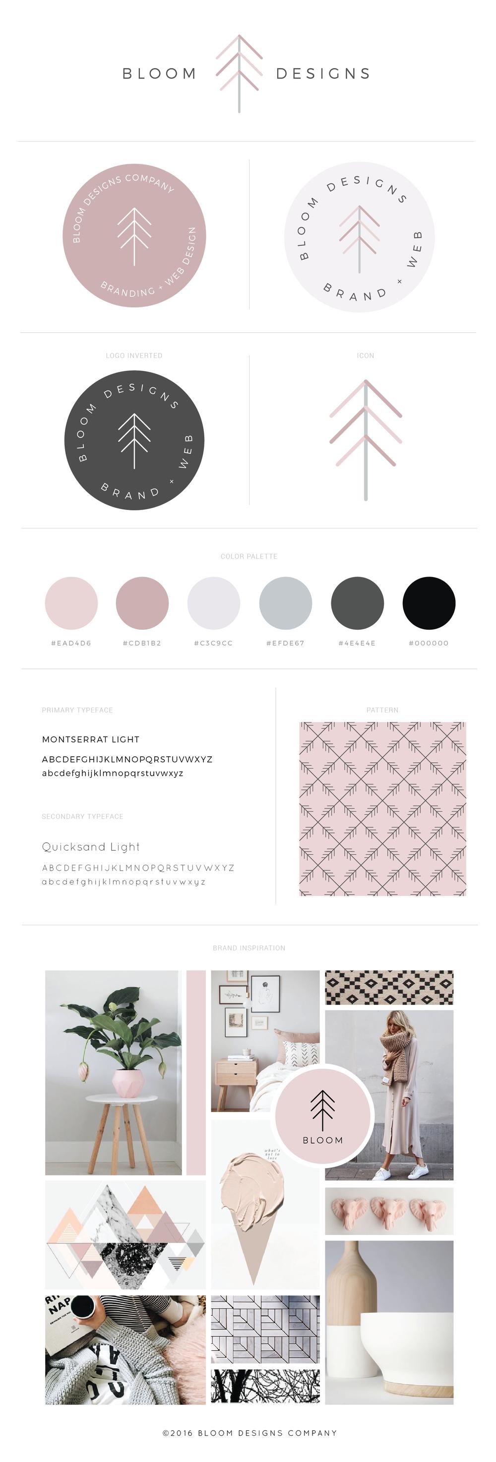 bloom designs company brand identity and website design board