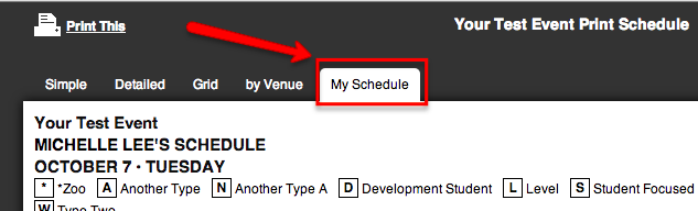 "A screenshot of the schedule portal with the ""My Schedule"" tab highlighted with an arrow."