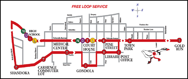 The Galloping Goose Bus schedule in Telluride, running downtown and to Gold Run.