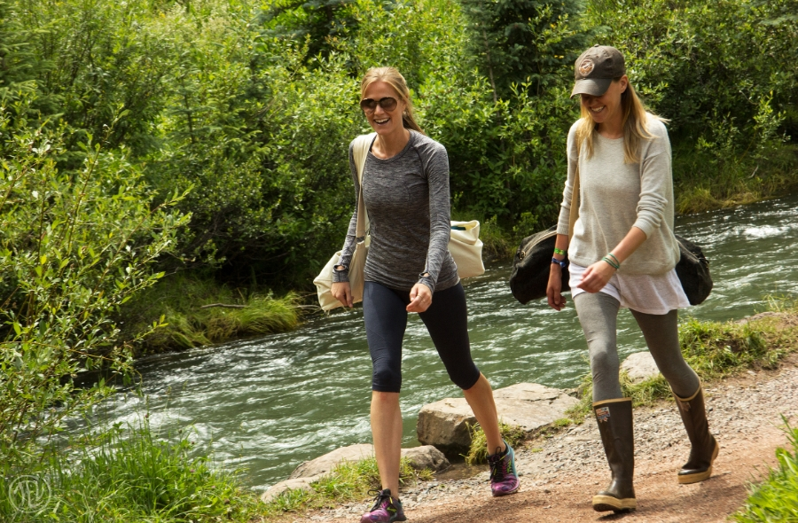 San Miguel River Hiking Pedestrian with Yoga Mats Telluride