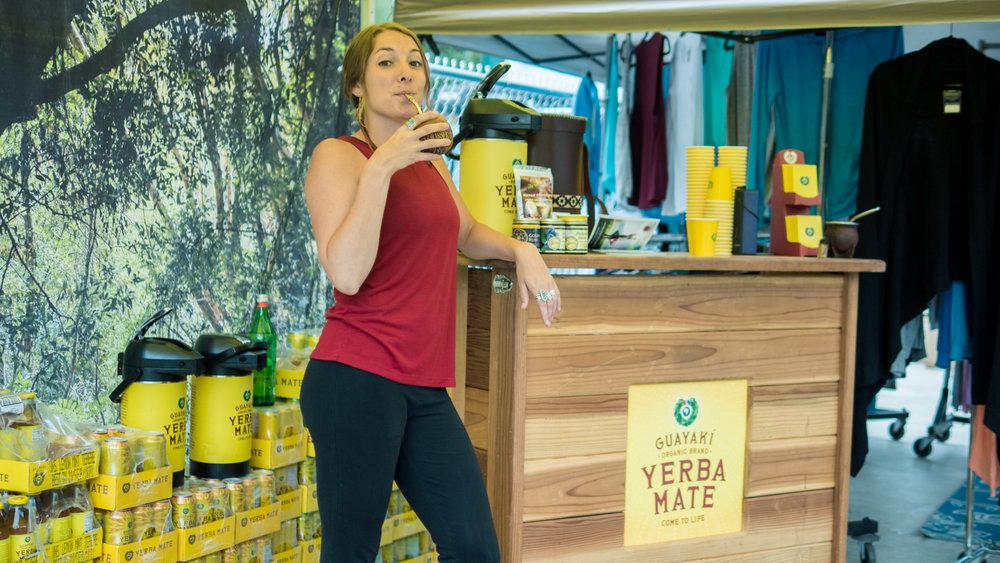 A Telluride Yoga Festival vendor shares her Yerba Mate.
