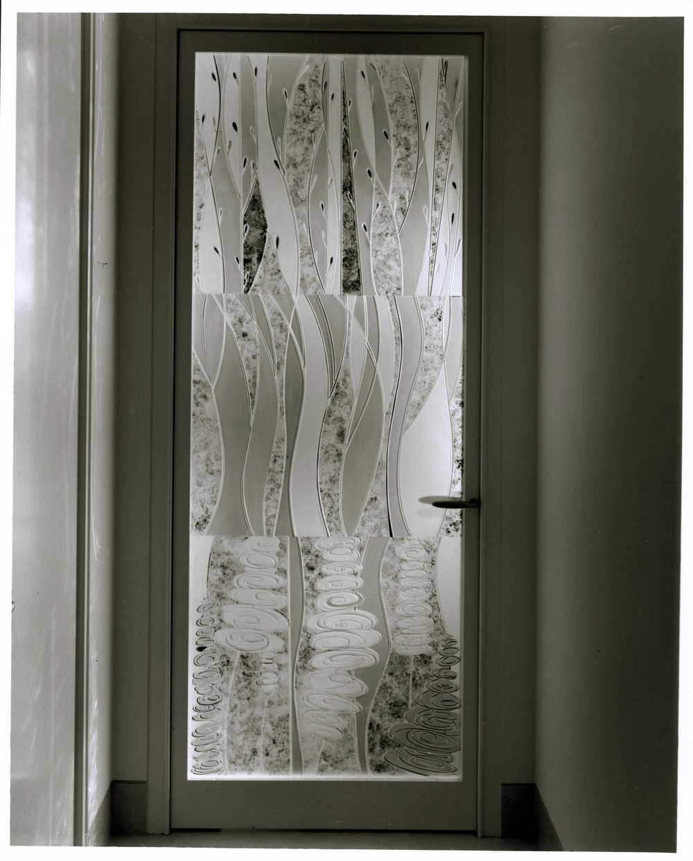 Private Residence New York, New York Carved and Etched Glass 6.5' x 3' x 1""