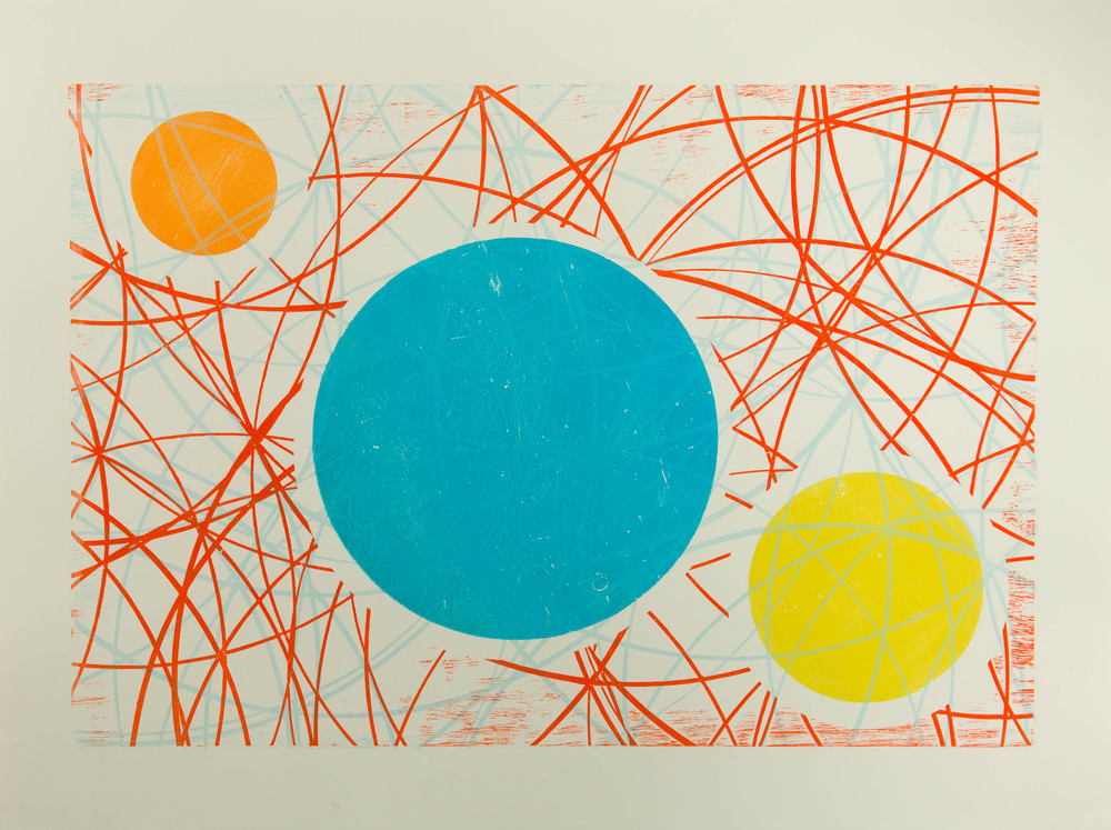 "Woodcut Monoprint 22"" x 30"""