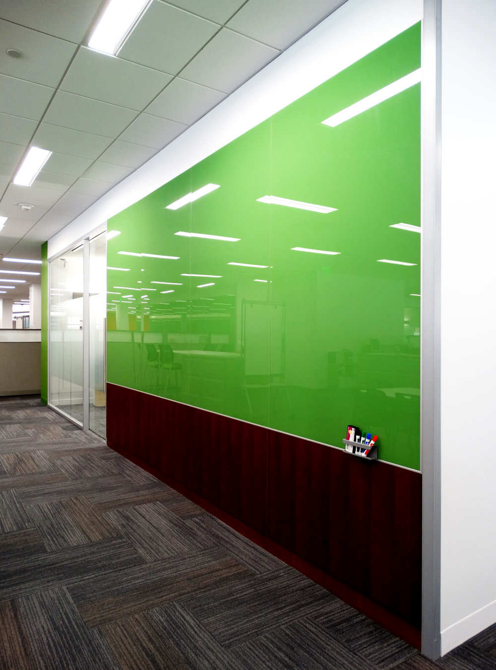 Custom Color Green Back Painted Glass Marker Board Wall - Spaceworks AI.jpg