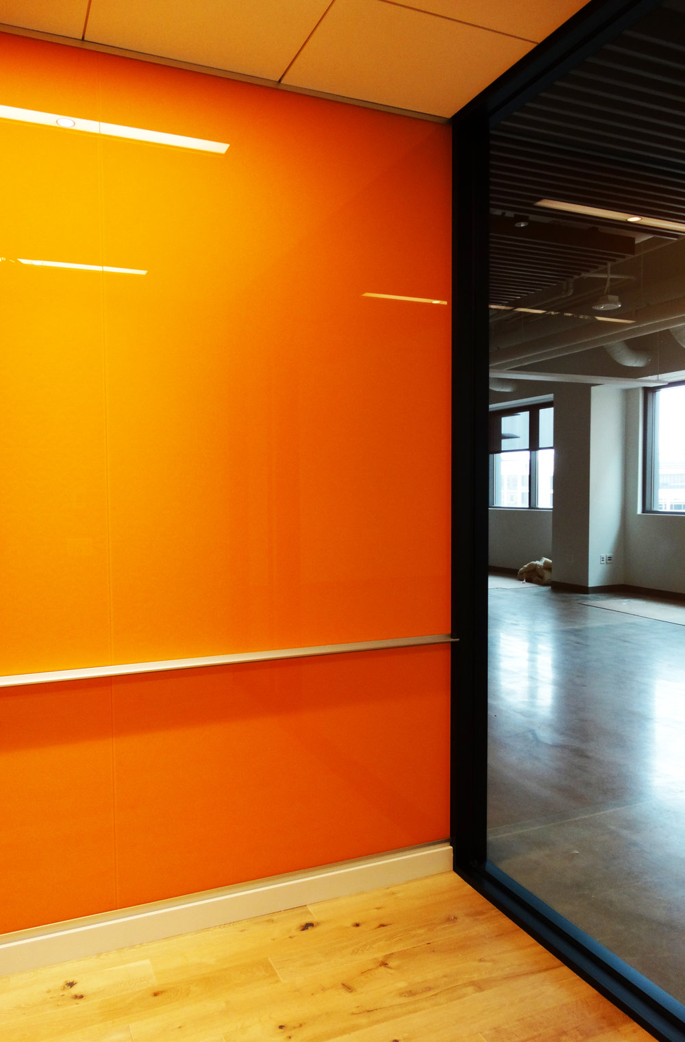 Custom Color Full Height Marker Board Wall Orange - Spaceworks AI.jpg
