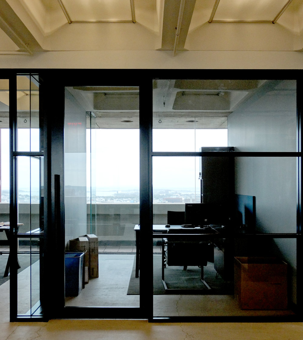 Encase Black Aluminum Framed Office Front Mullion Wall - Spaceworks AI.JPG