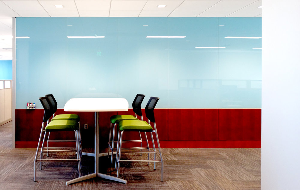 Blue Back Painted Specialty Glass Marker Board Wall - Spaceworks AI.jpg