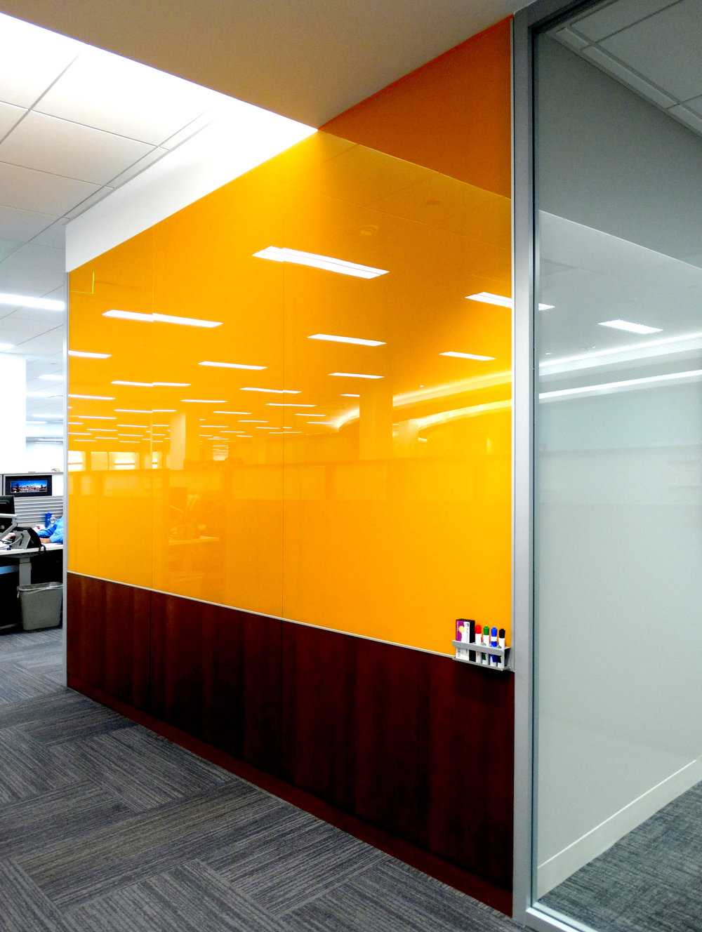 Custom Color Orange Full Height Marker Board Millwork - Spaceworks AI.jpg