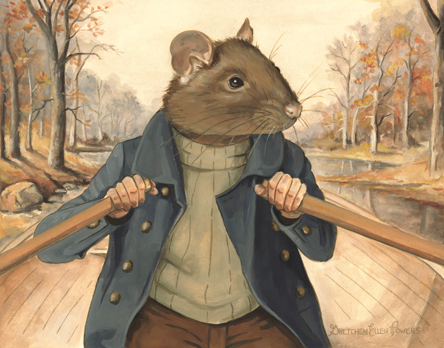 "The Rat and His River    14""x11""  gouache on paper  Ratty is perhaps my favorite  Wind in the Willows  character. He's sweet, sensible, down to earth and content. All he needs is his boat and the river and he considers himself well-off.   ""Believe me, my young friend, there is nothing - absolutely nothing - half so much worth doing as simply messing about in boats.""  -Ratty of  The Wind in the Willows  (Kenneth Grahame)"