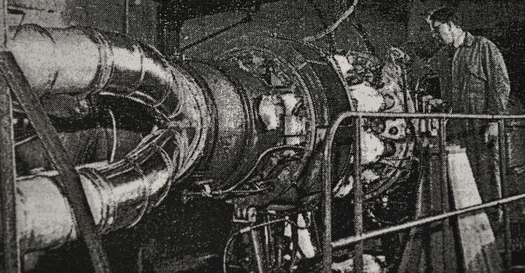 The heart of the BlueBird CN7 as it was being built