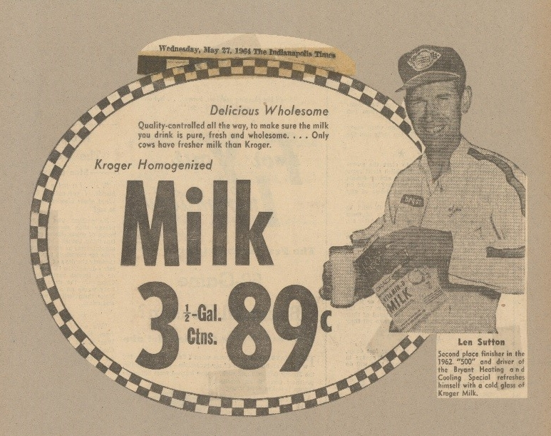 Len Sutton helping to advertise Kroger Homogenized milk