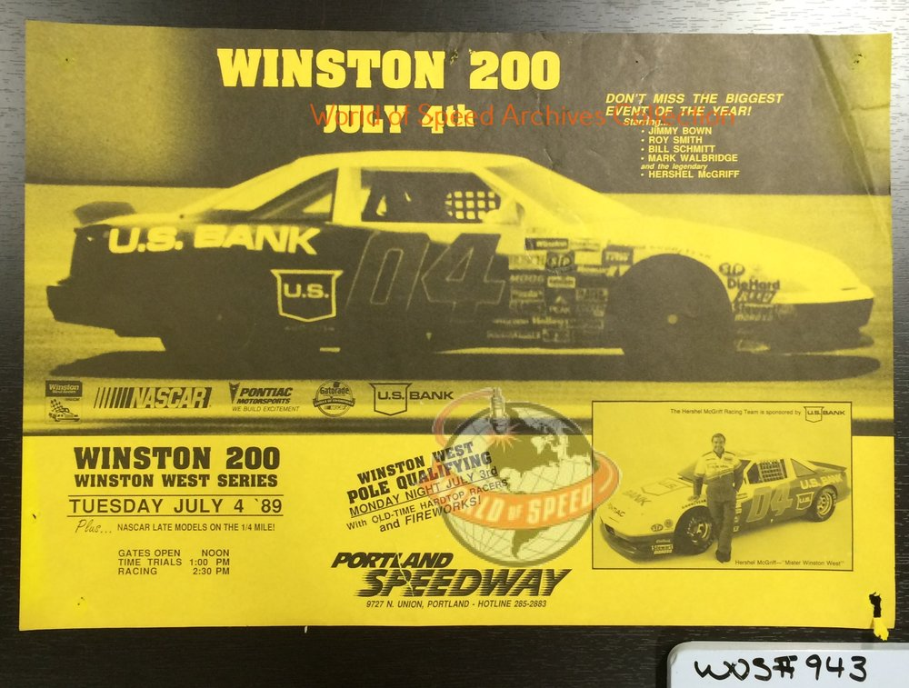 1989 flyer includes local '80s NASCAR legend Hershel McGriff