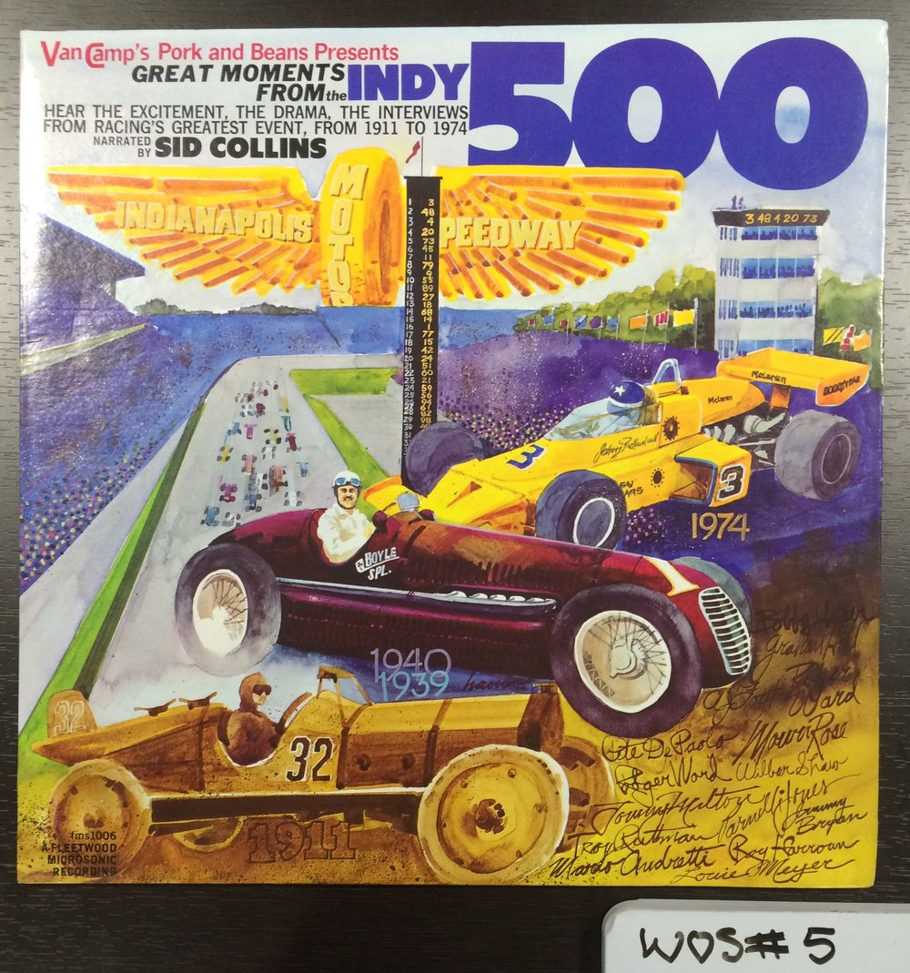 LP cover of sound recording of Indy 500 races from 1911 to 1974, WOS#5