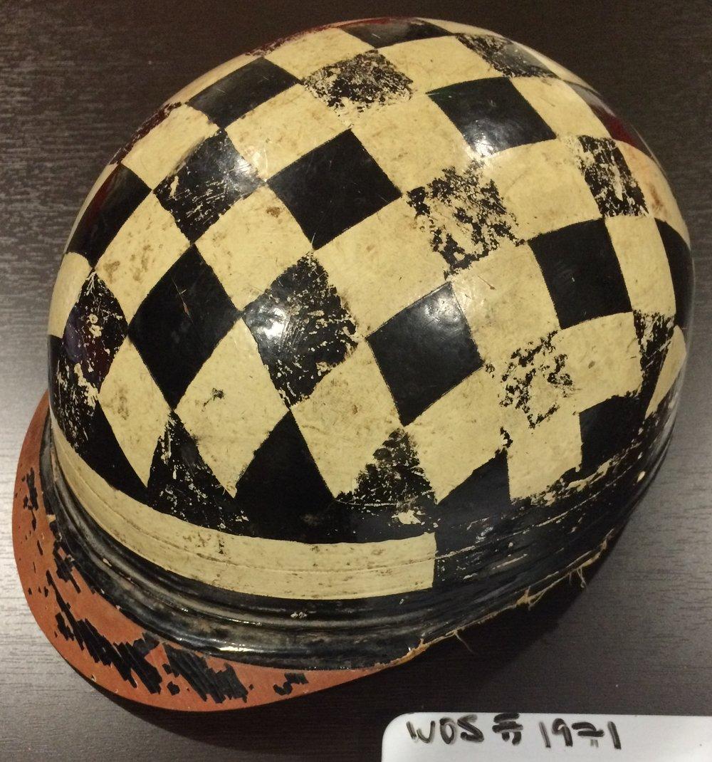 Hand-painted mid-century midget racing helmet, WOS#1971