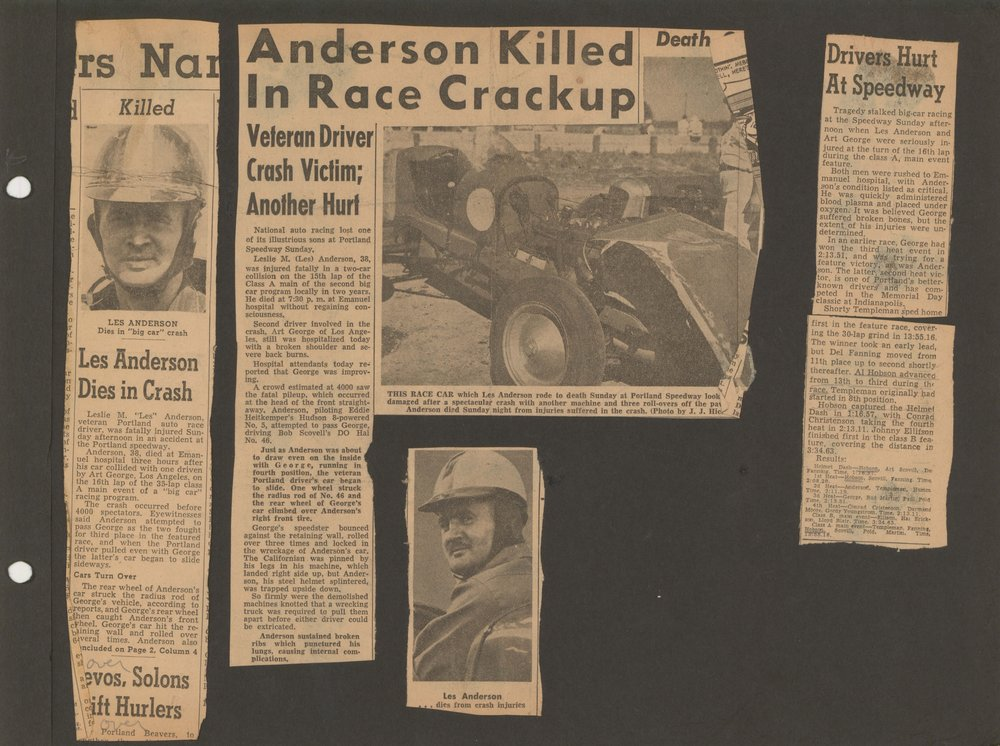 Les Anderson died in a crash with Art George in July 1945 while racing at Portland Speedway.
