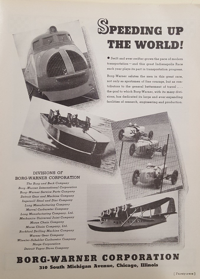 Borg-Warner Corporation Advertisement, Indianapolis 500 Program, 1935 WOS#2723