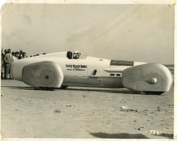After performing wind tunnel tests to study the car's resistance to air, Frank Lockhart gave his  Stutz Black Hawk Special  a relatively small engine but a super streamlined body. Lockhart suffered a fatal crash in a 1928 Daytona Beach contest. Many believe that he was on his way to setting a world land speed record with this car.