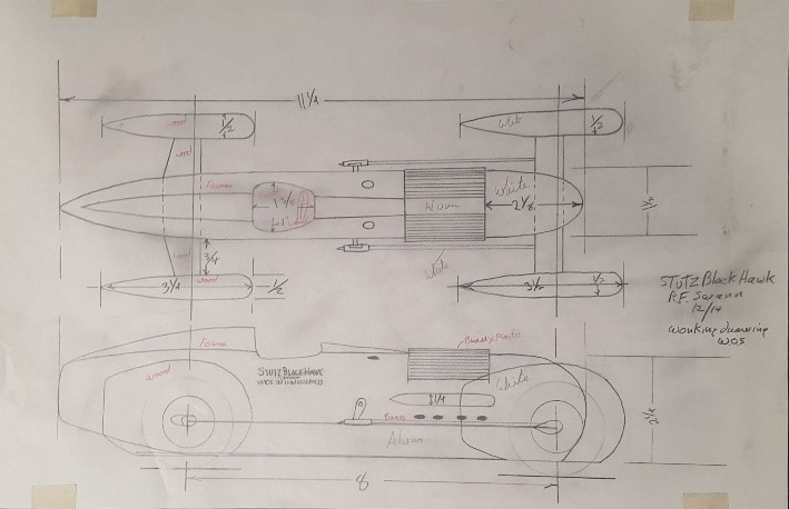 Randy Swann created this drawing as he prepared to construct a model of Frank Lockhart's  Stutz Black Hawk Special . The teardrop shape of the car is particularly evident in the top-down sketch.