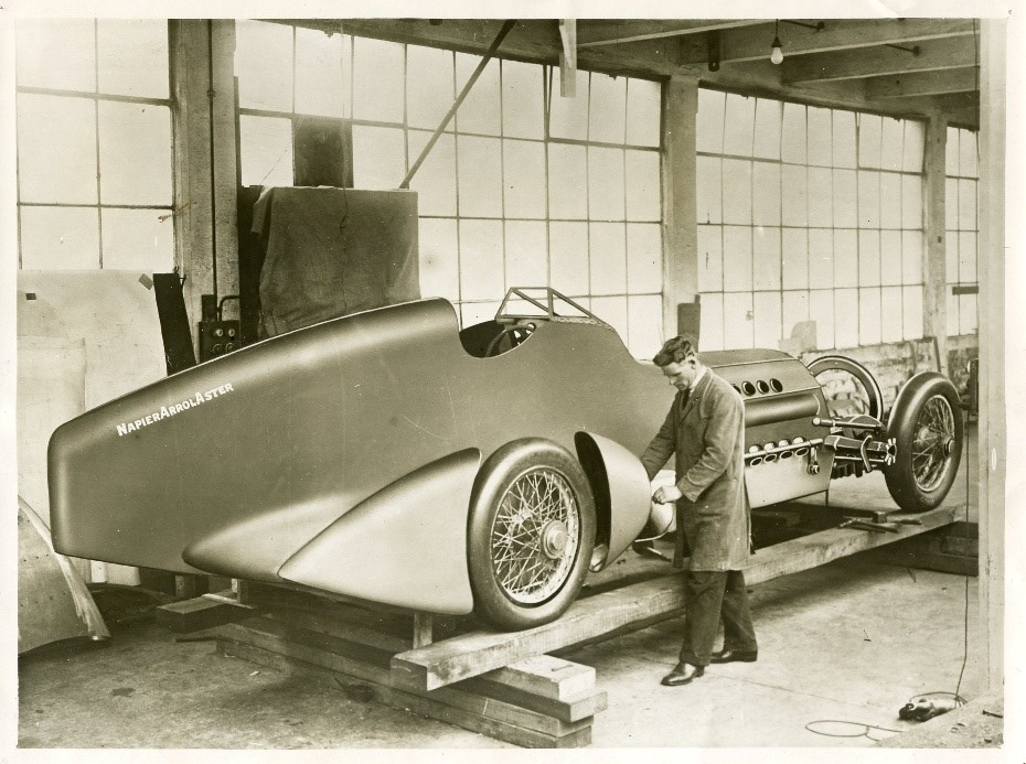 The body of Captain Malcolm Campbell's  Bluebird  was remade at Arrol-Johnston Works in Dumfries in advance of a record attempt in South Africa in 1929.