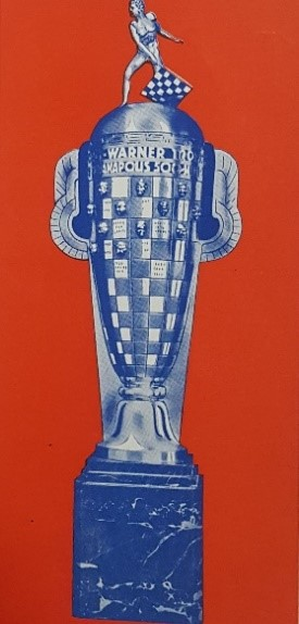 Borg-Warner Trophy from Borg-Warner Corporation Advertisement, Indianapolis 500 Program, 1938, back cover, WOS#2726