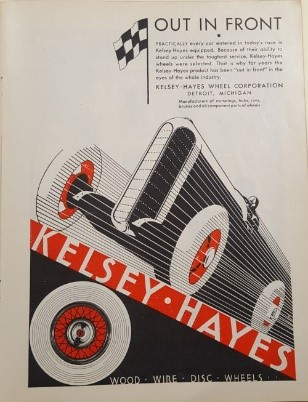 Kelsey-Hayes Wheel Corporation Advertisement, Indianapolis 500 Program, 1931, page 37, WOS#3212