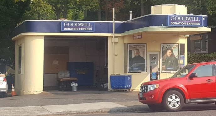 Streamline Moderne was a style frequently applied to buildings relating to motor vehicles, such as filling stations. This Goodwill Donation Center was built as an Associated Oil Station. Can you imagine gas pumps out front?
