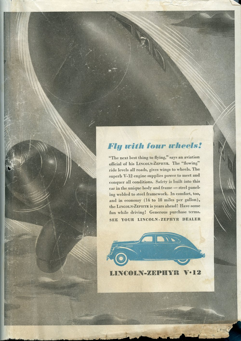 Lincoln-Zephyr Advertisement, Indianapolis 500 Program, 1937, page 53, WOS#2725